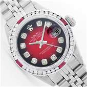 Womens Rolex Stainless Steel Diamond and Ruby Datejust