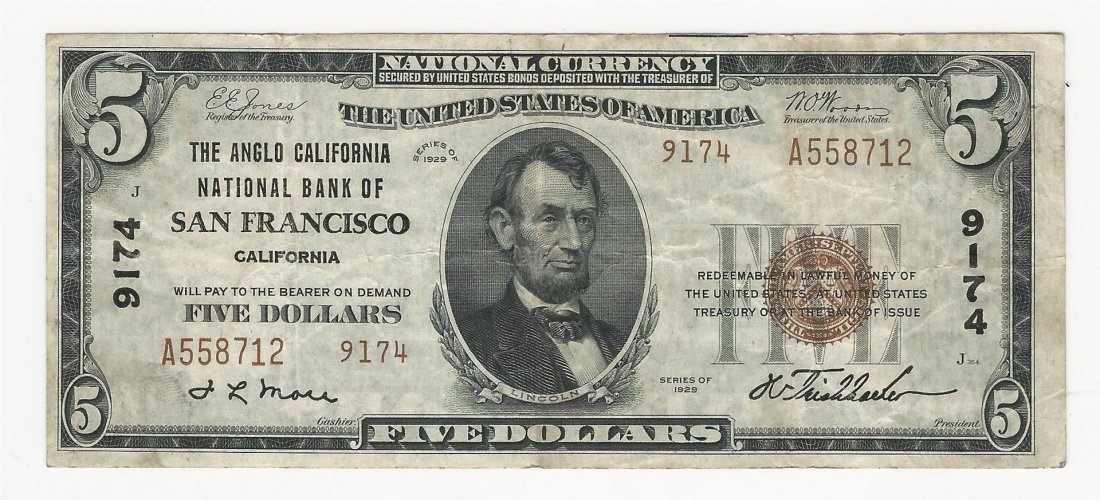 1929 $5 San Francisco California National Currency Note