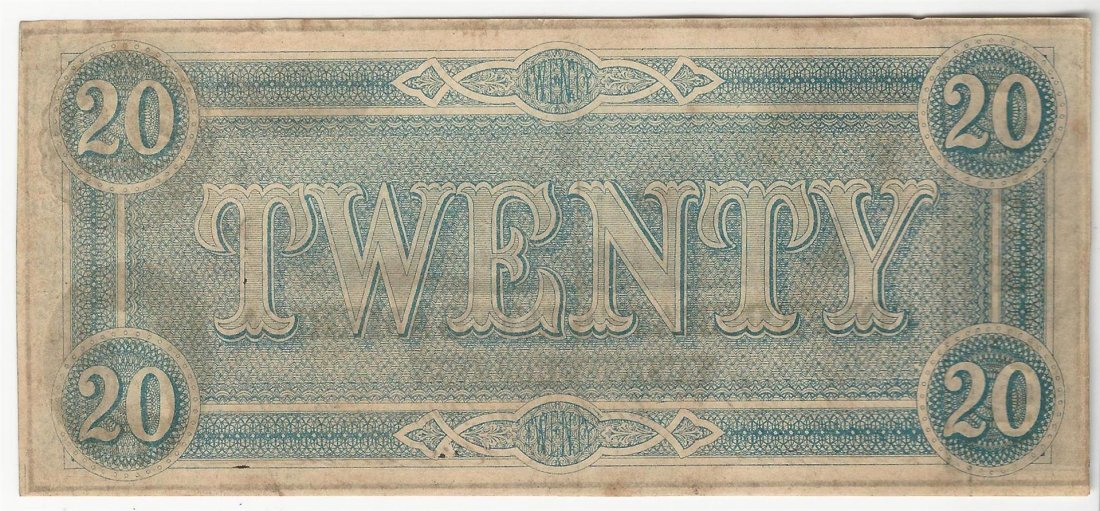1864 $20 The Confederate States of America Note - 2
