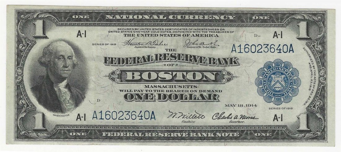 1918 $1 Federal Reserve Bank of Boston National