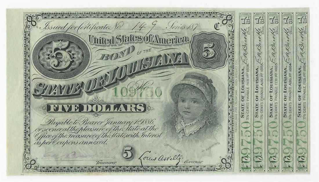 1875/8 $5 State of Louisiana Baby Bond Obsolete Note