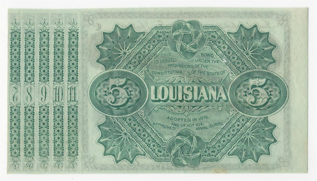 1875/8 $5 State of Louisiana Baby Bond Obsolete Note - 2