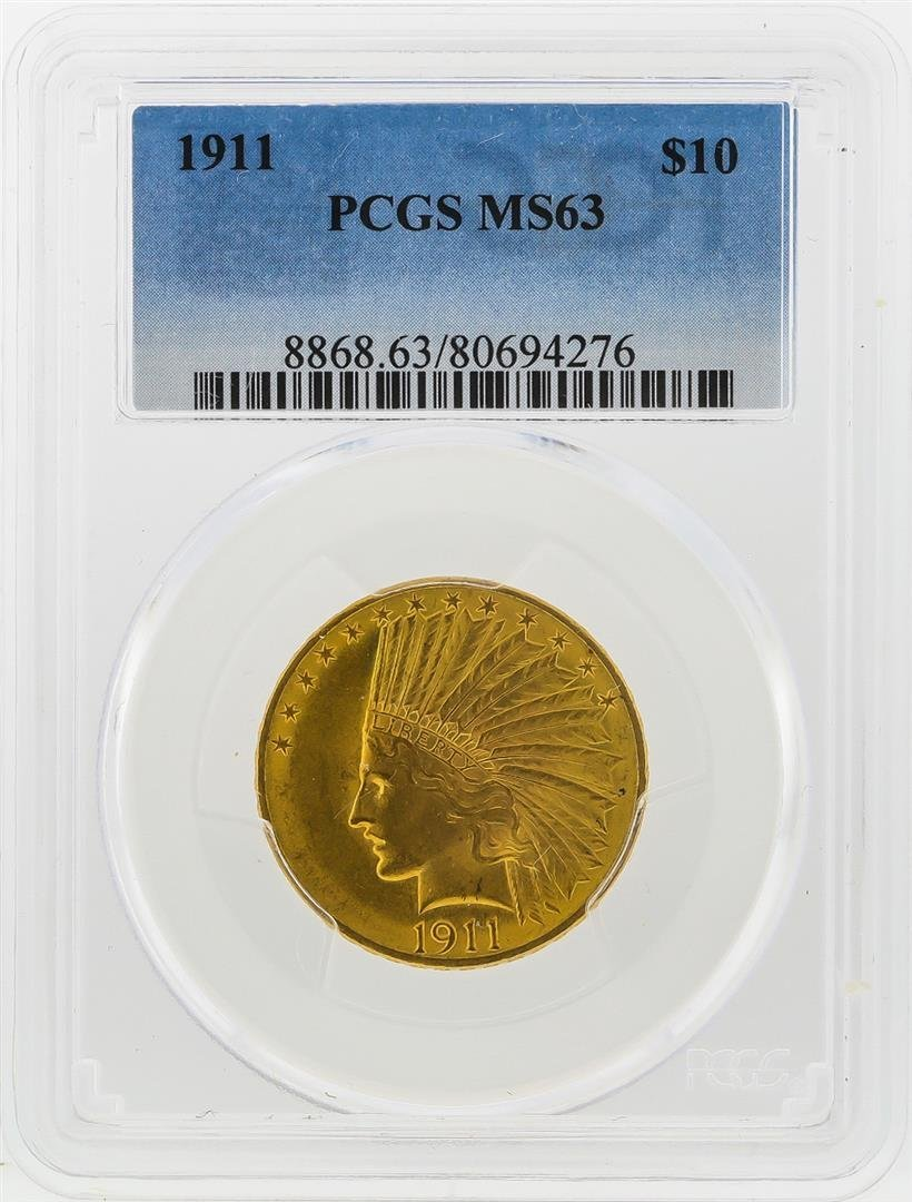 1911 $10 Indian Head Eagle Gold Coin PCGS MS63