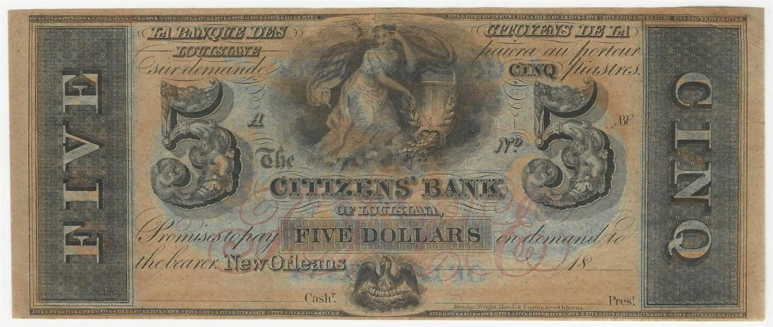1800s $5 The Citizens Bank of Louisiana Obsolete Bank