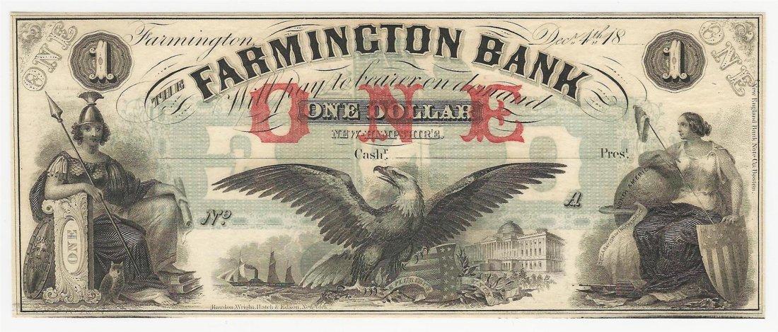 1800s $1 The Farmington Bank Obsolete Bank Note