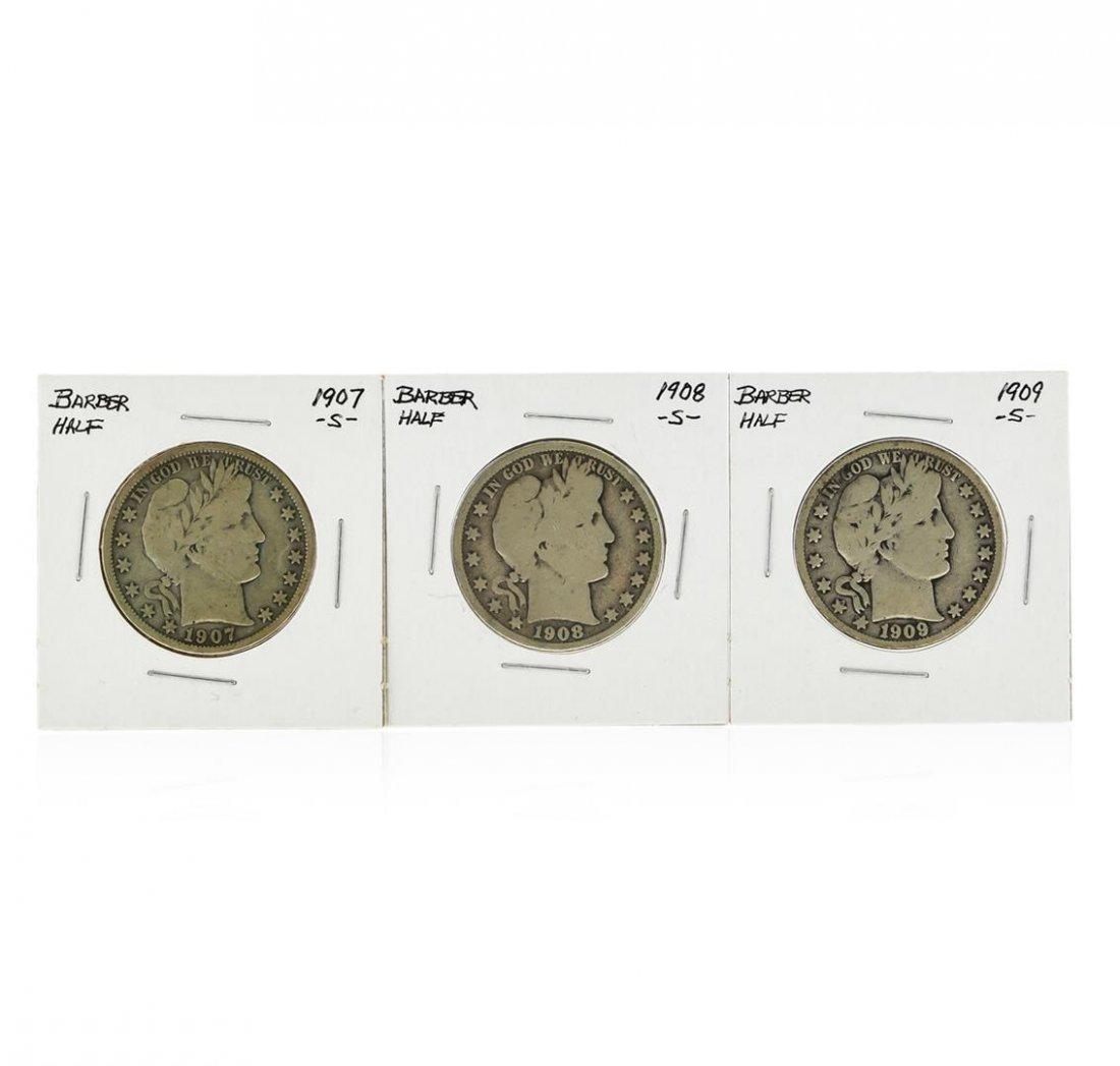 Set of 1907-S, 1908-S, 1909-S Silver Barber Half Dollar