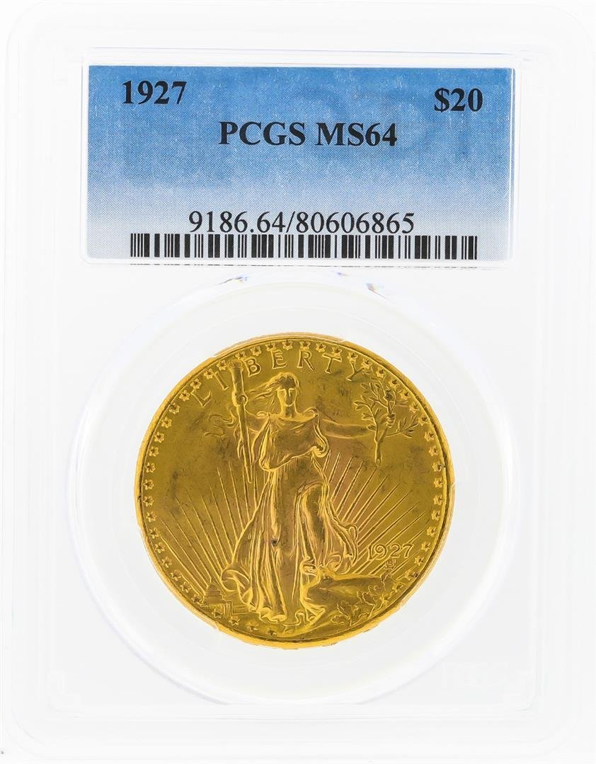 1927 $20 St. Gaudens Double Eagle Gold Coin PCGS MS64
