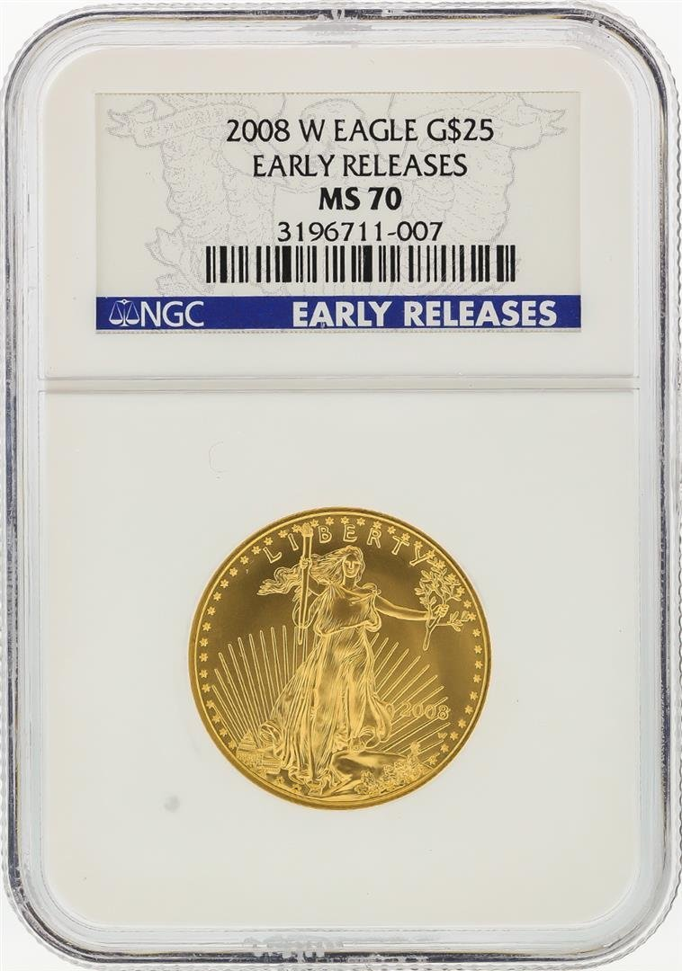 2008-W $25 American Gold Eagle Coin NGC Graded MS70