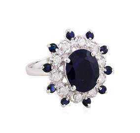 14KT White Gold 5.94ct Sapphire and Diamond Ring