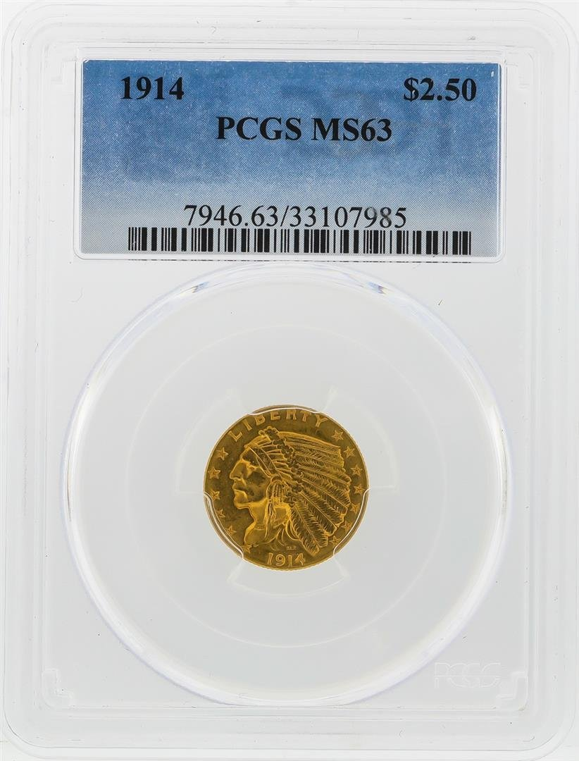 1914 $2 1/2 Indian Head Quarter Eagle Gold Coin PCGS