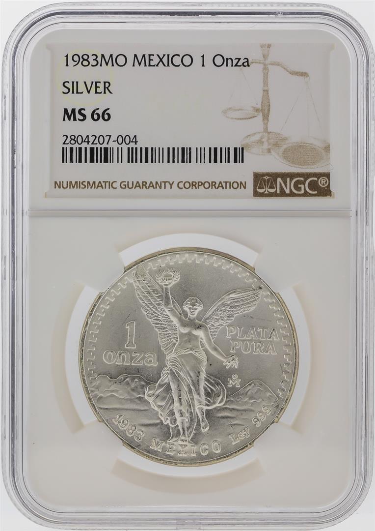 1983-MO Mexico 1 Onza Libertad Silver Coin NGC MS66