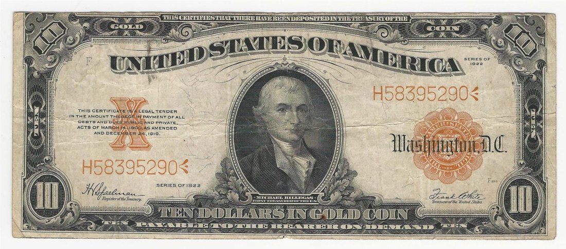 Large Size 1922 $10 Gold Certificate Note