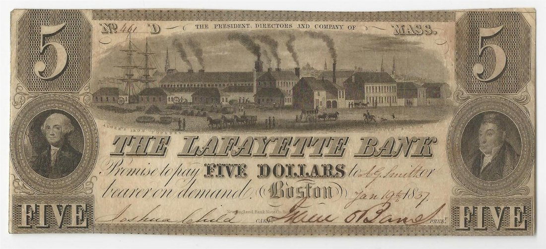 1837 The Lafayette Bank Obsolete Bank Note