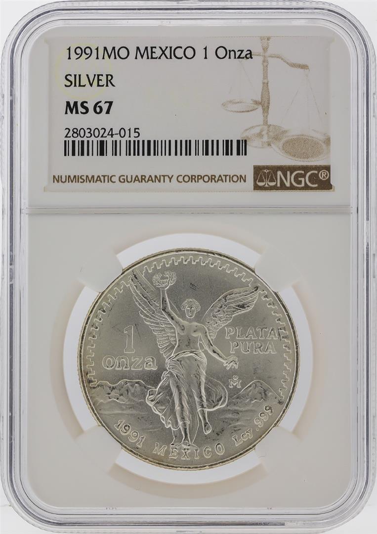1991-MO Mexico 1 Onza Libertad Silver Coin NGC MS67