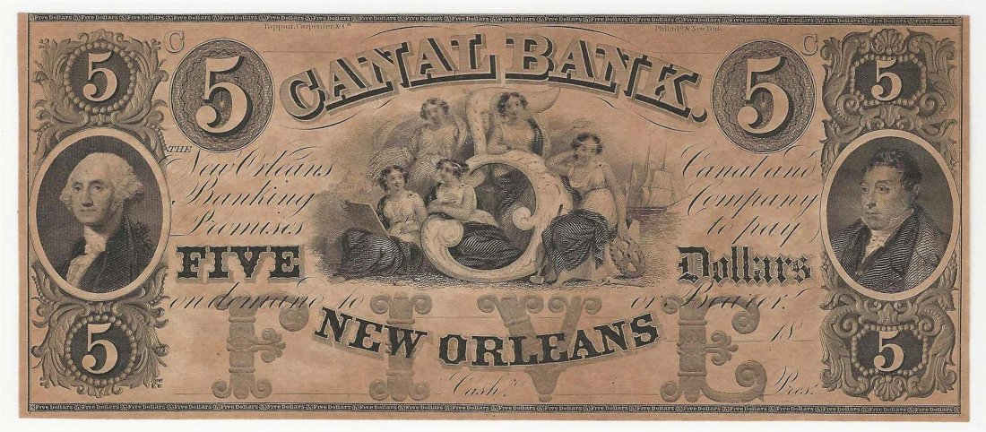 1800s $5 Canal Bank New Orleans Obsolete Note