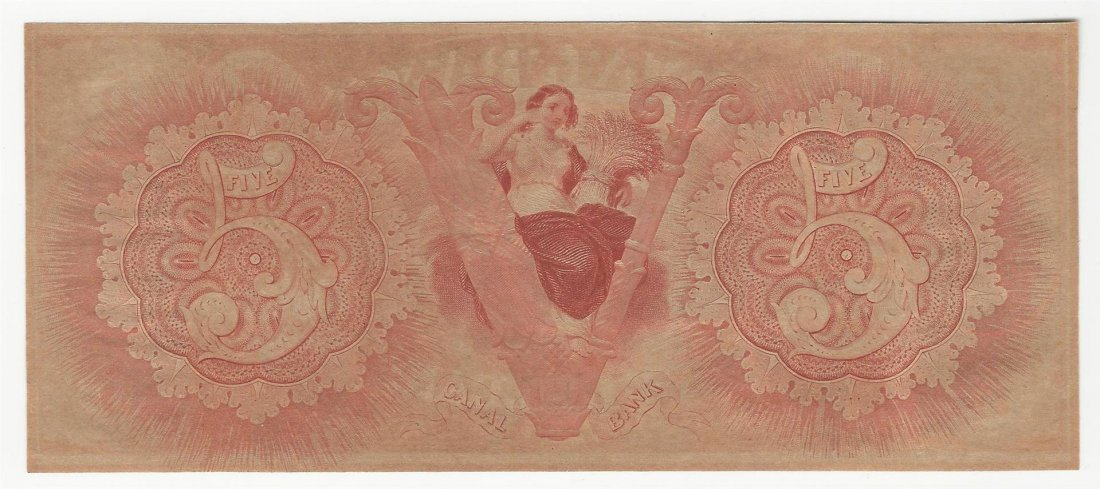 1800s $5 Canal Bank New Orleans Obsolete Note - 2