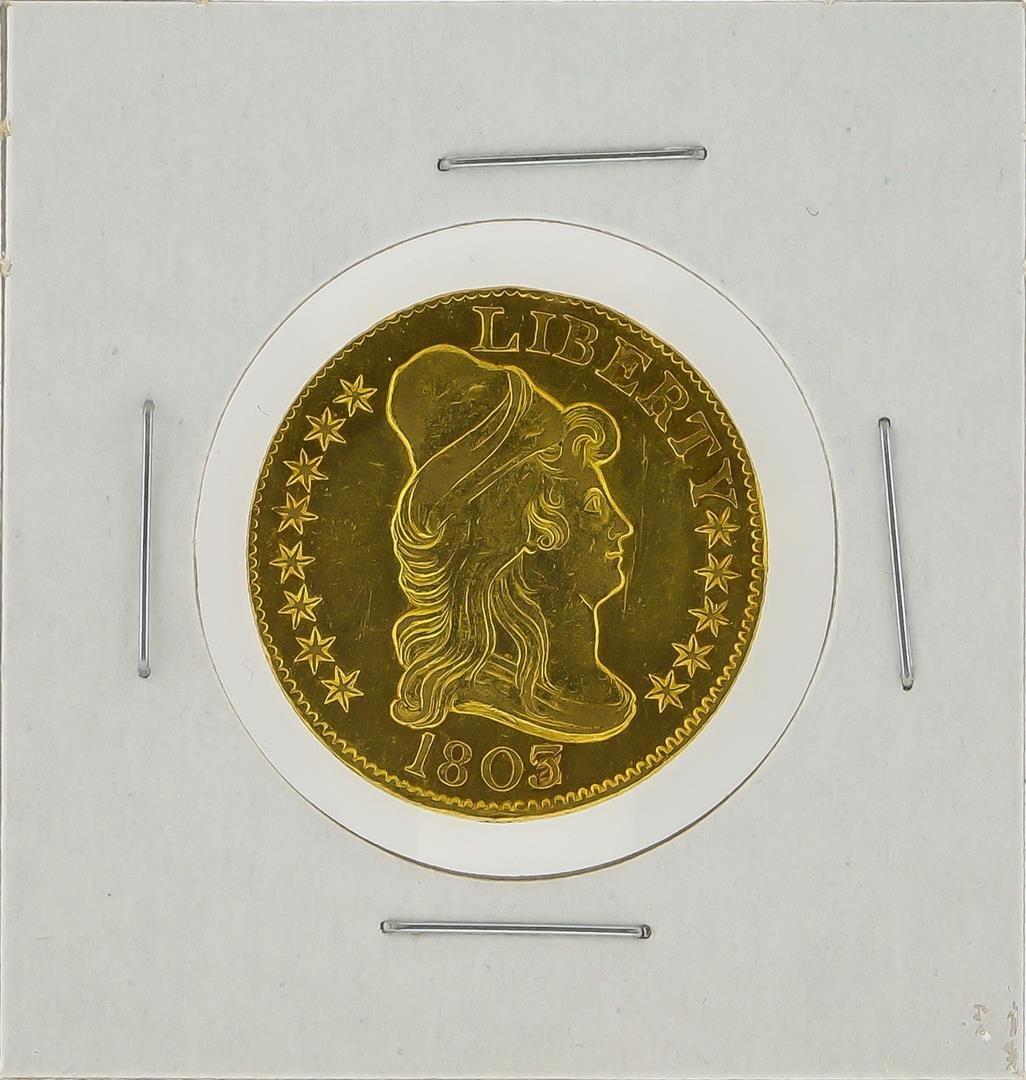 1803/2 $5 Heraldic Eagle Gold Coin AU Details