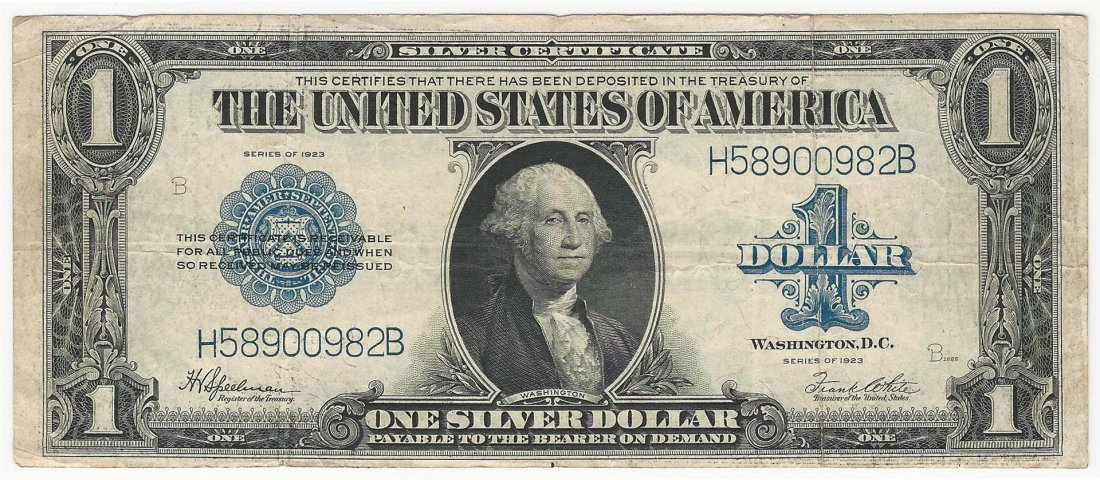 1923 $1 Silver Certificate Bank Note