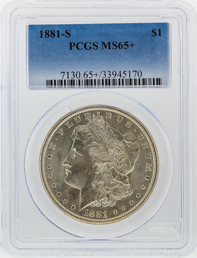 1881-S $1 Morgan Silver Dollar PCGS Graded MS65+