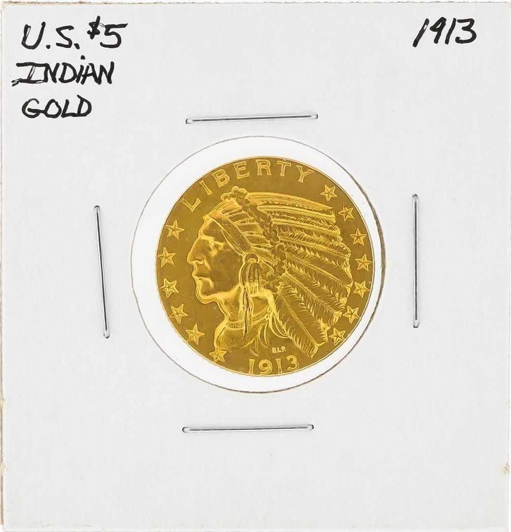 1913 $5 Indian Head Half Eagle Gold Coin