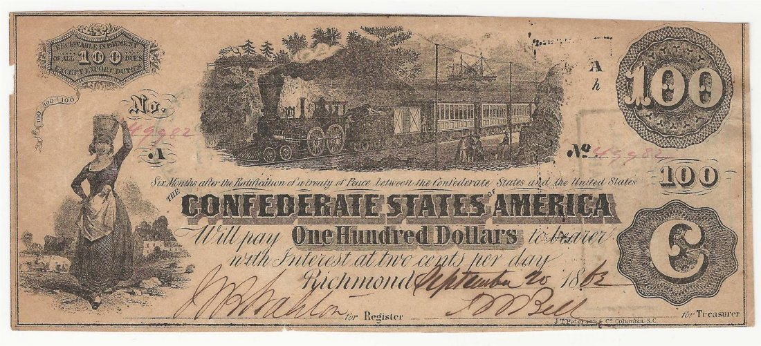 1863 $100 The Confederate States of America Note
