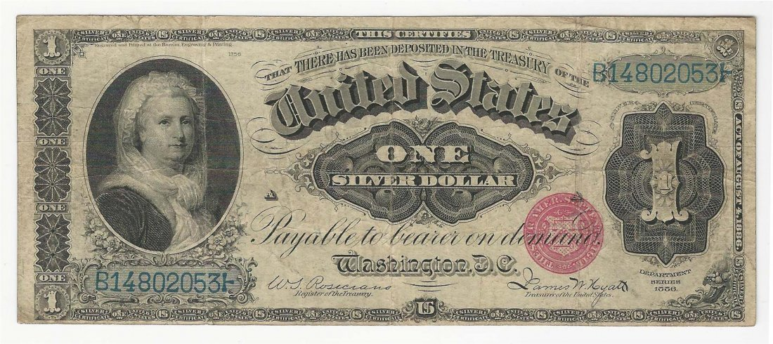 1886 $1 Martha Washington Large Silver Certificate Note