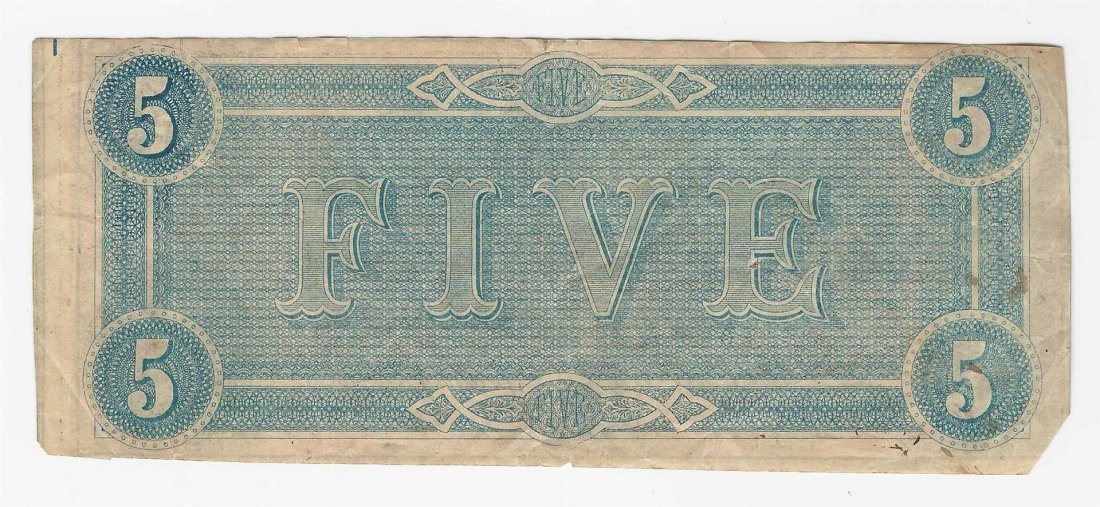 1864 $5 The Confederate States of America Note - 2