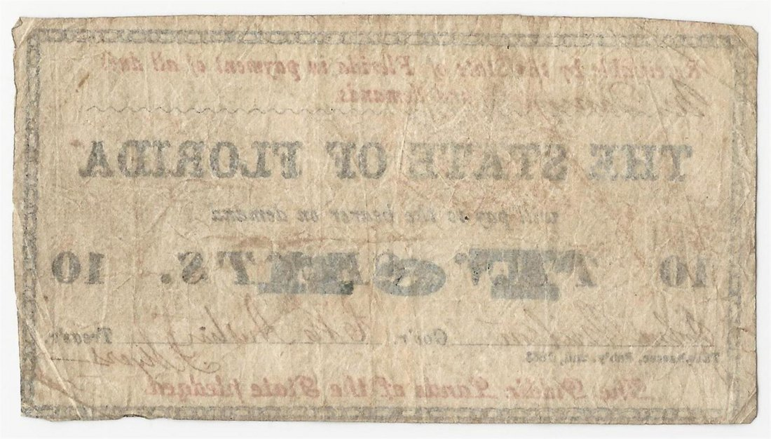 1863 10 Cents The State of Florida Note - 2
