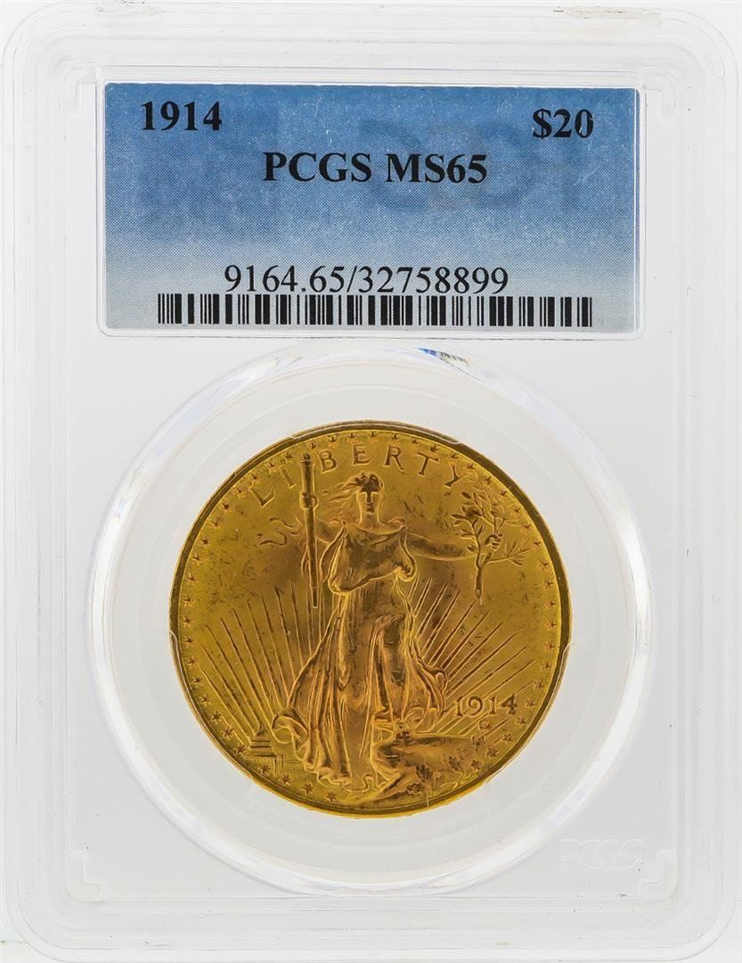1914 $20 St. Gaudens Double Eagle Gold Coin PCGS MS65