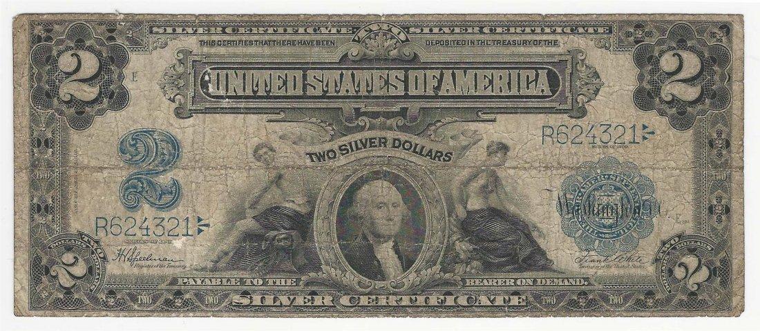 1899 $2 Mini Porthole Silver Certificate Note