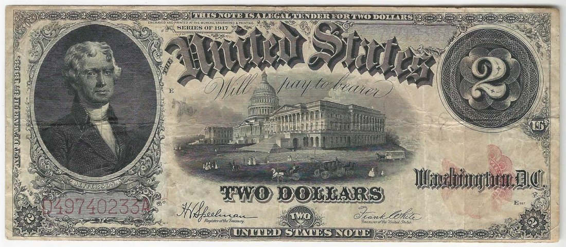 1917 $2 Legal Tender Bank Note ERROR