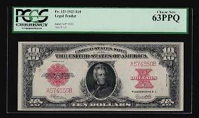 1923 $10 Legal Tender Red Seal 'Poker Chip' Note PCGS
