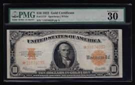 1922 $10 Gold Certificate STAR Note PMG VF30 EPQ
