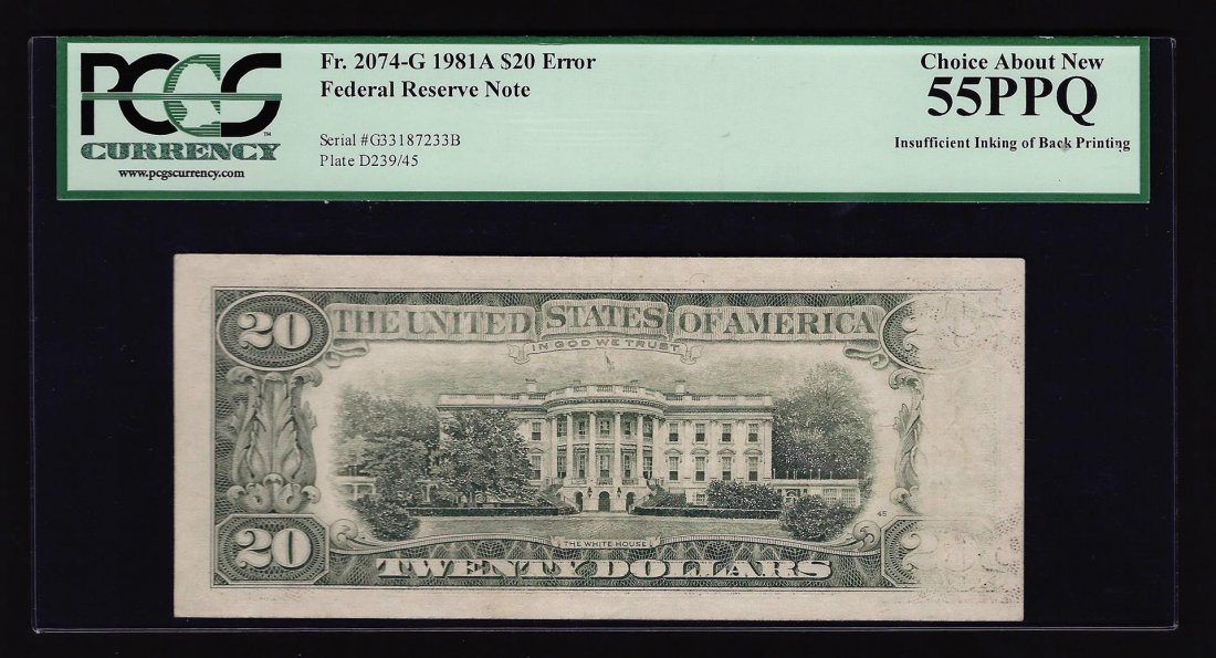 1981A $20 Federal Reserve Note Insufficient Inking