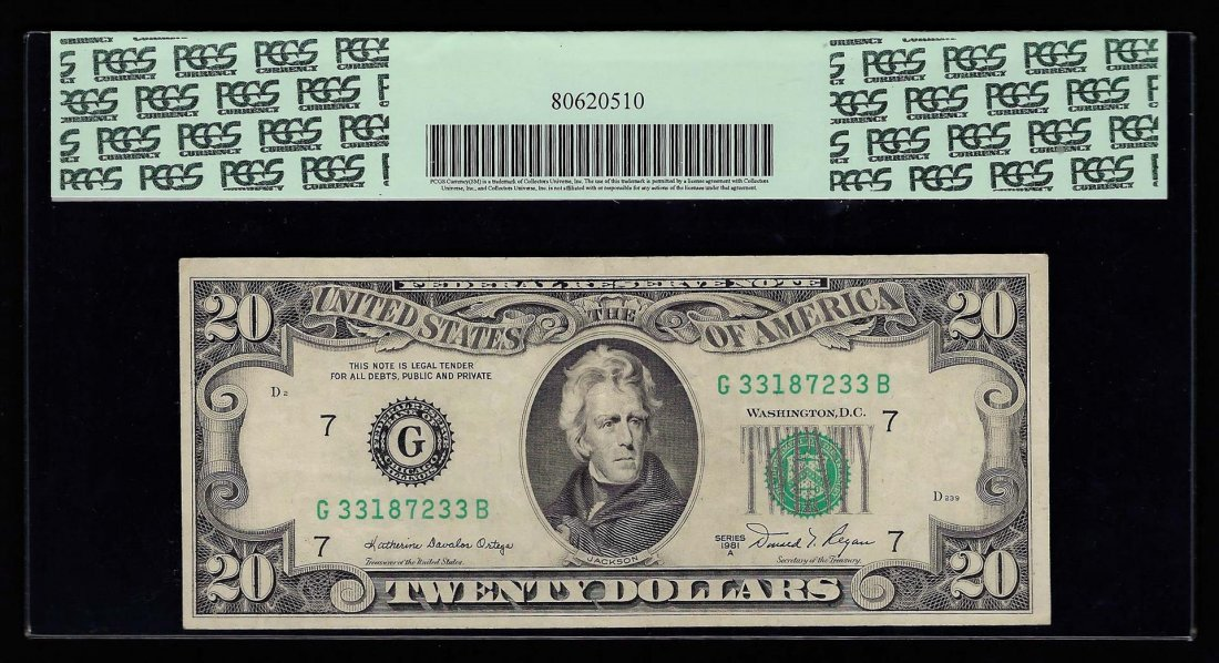 1981A $20 Federal Reserve Note Insufficient Inking - 2