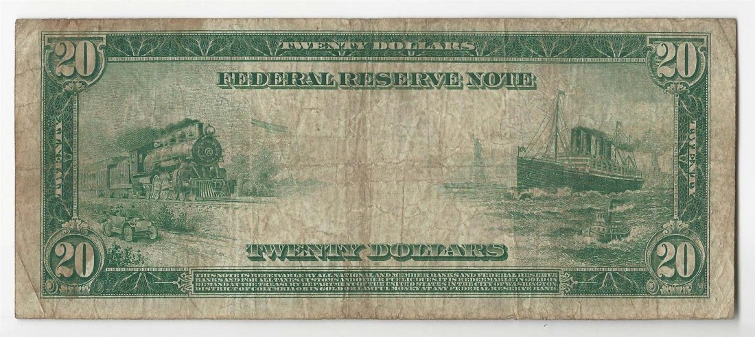 1914 $20 Large Size Federal Reserve Note - 2