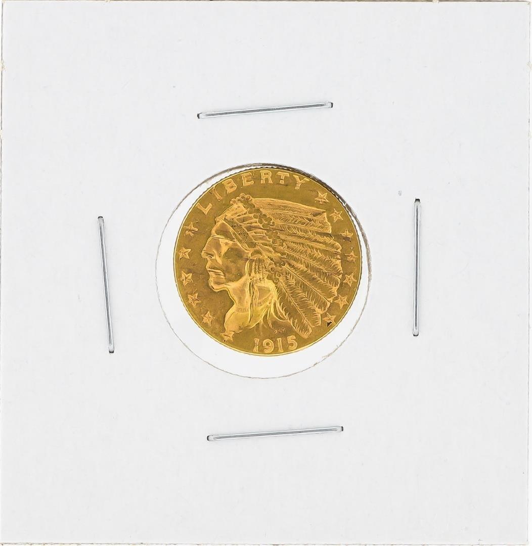 1915 $2 1/2 Indian Head Quarter Eagle Gold Coin BU