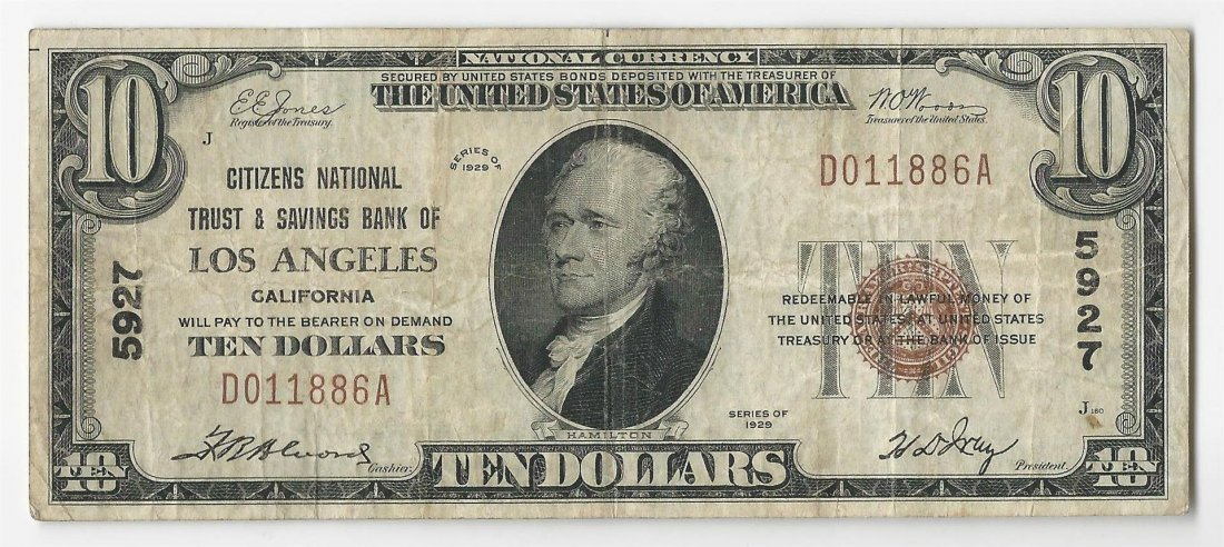 1929 $10 Los Angeles California National Currency Note