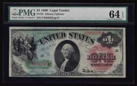 1869 $1 Rainbow Large Size Legal Tender Note PMG CU 64