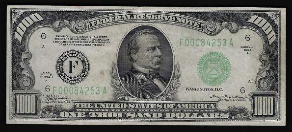 1934A $1000 Federal Reserve Bank Note Atlanta