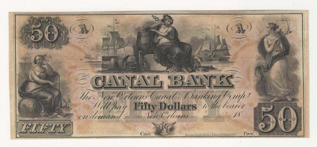 1800s $50 The New Orleans Canal & Banking Co Obsolete
