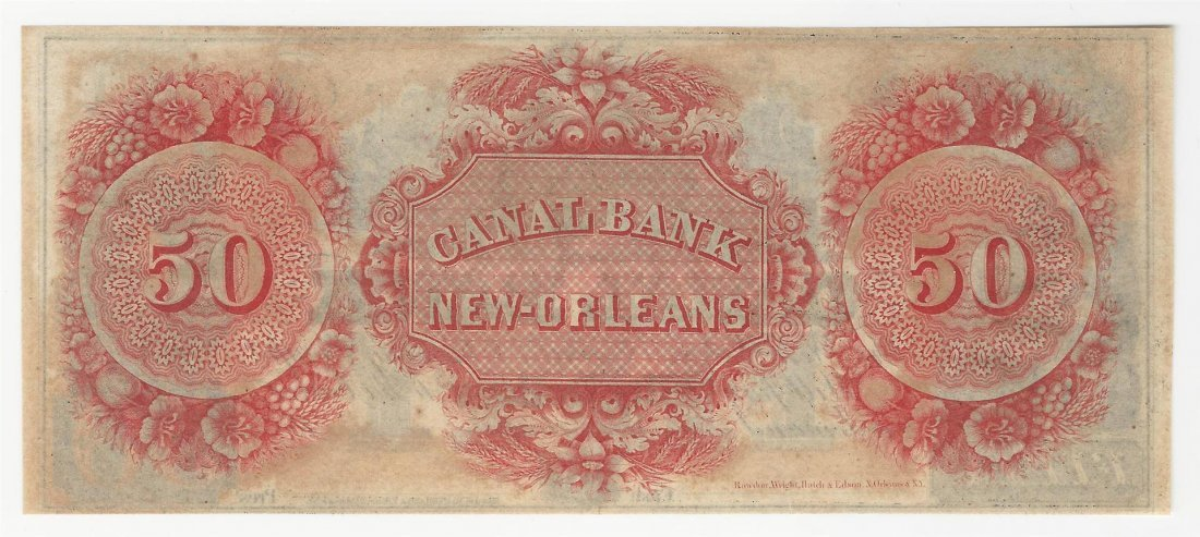 1800s $50 The New Orleans Canal & Banking Co Obsolete - 2