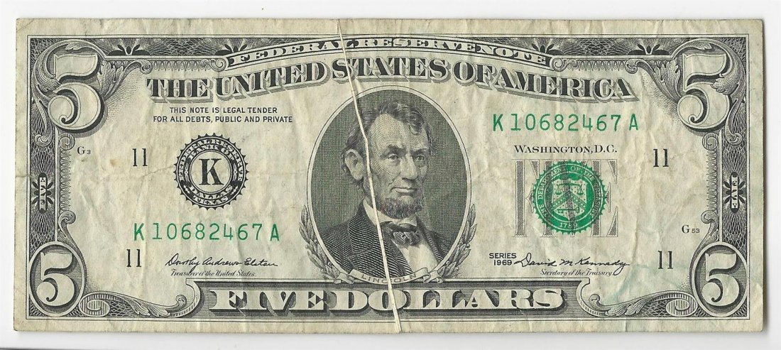 1969 $5 Federal Reserve Note Gutterfold ERROR