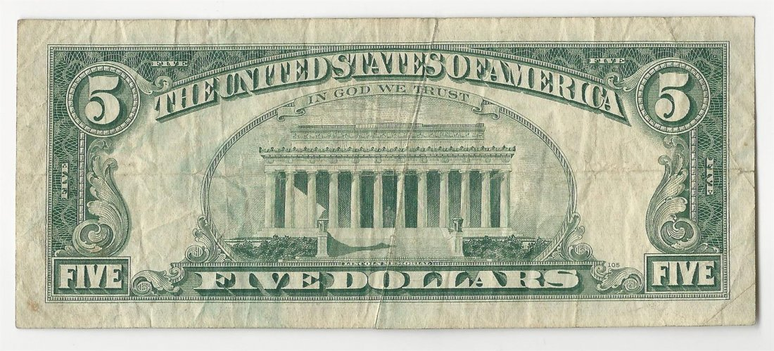 1969 $5 Federal Reserve Note Gutterfold ERROR - 2