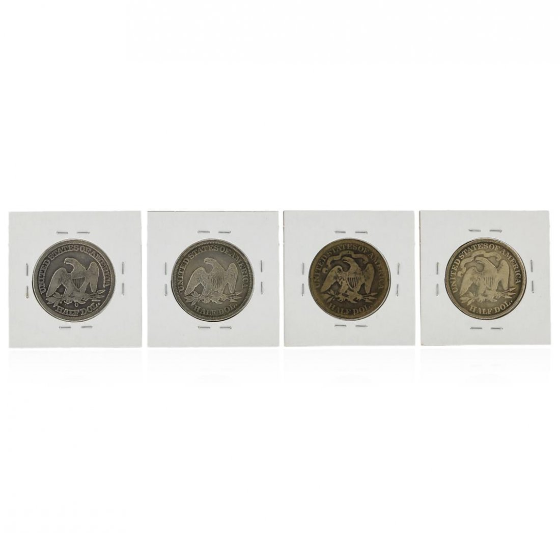 Set of (4) Silver Liberty Seated Half Dollar Coins - 2