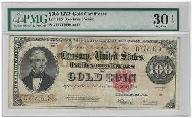 1922 $100 Large Size Gold Certificate Coin Note PMG