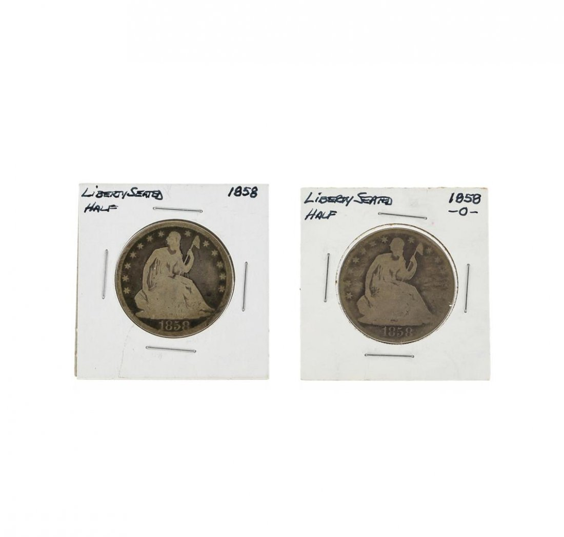 1858 and 1858-O Silver Seated Liberty Half Dollar Coin