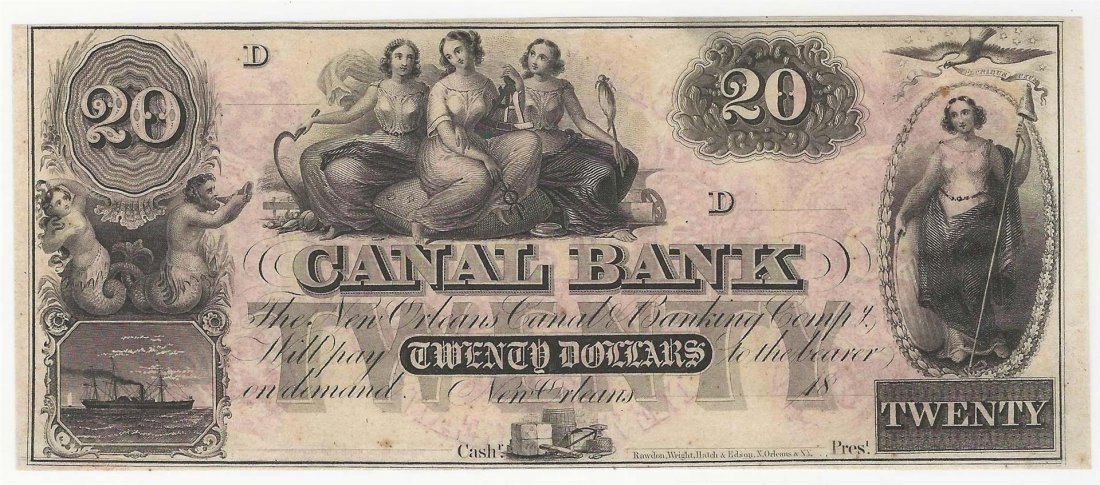 1800s $20 Canal Bank New Orleans Obsolete Bank Note