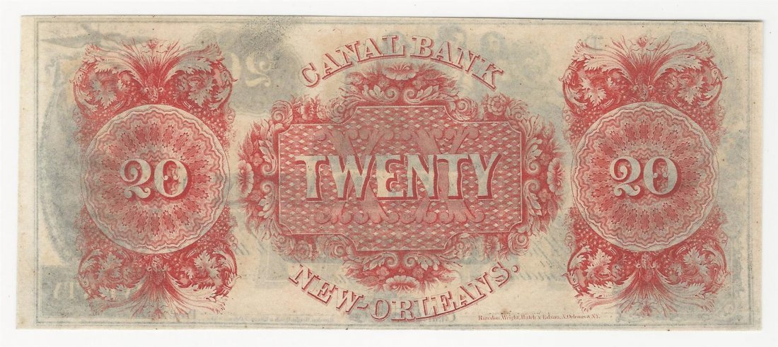 1800s $20 Canal Bank New Orleans Obsolete Bank Note - 2