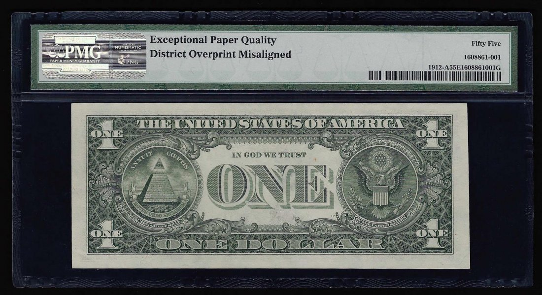 1981A $1 Federal Reserve Note Misalignment ERROR PMG - 2
